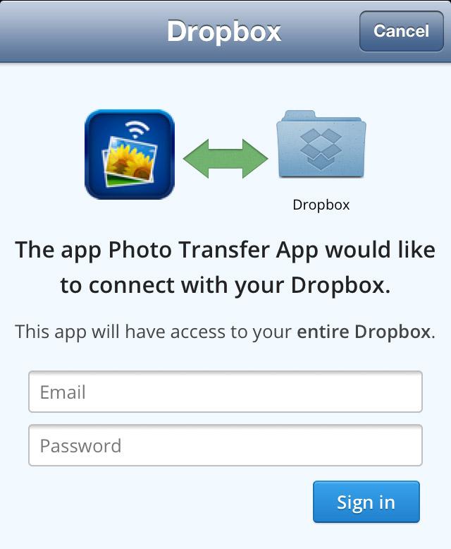 dropbox login page